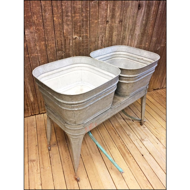 Vintage Lawson Country Galvanized Double Basin Wash Tub