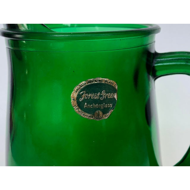 Vintage Anchor Hocking Forest Green Glass Pitcher For Sale - Image 9 of 12