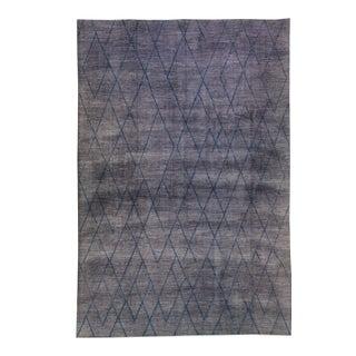 Modern Moroccan Style Handmade Tribal Gray Oversize Wool Rug For Sale