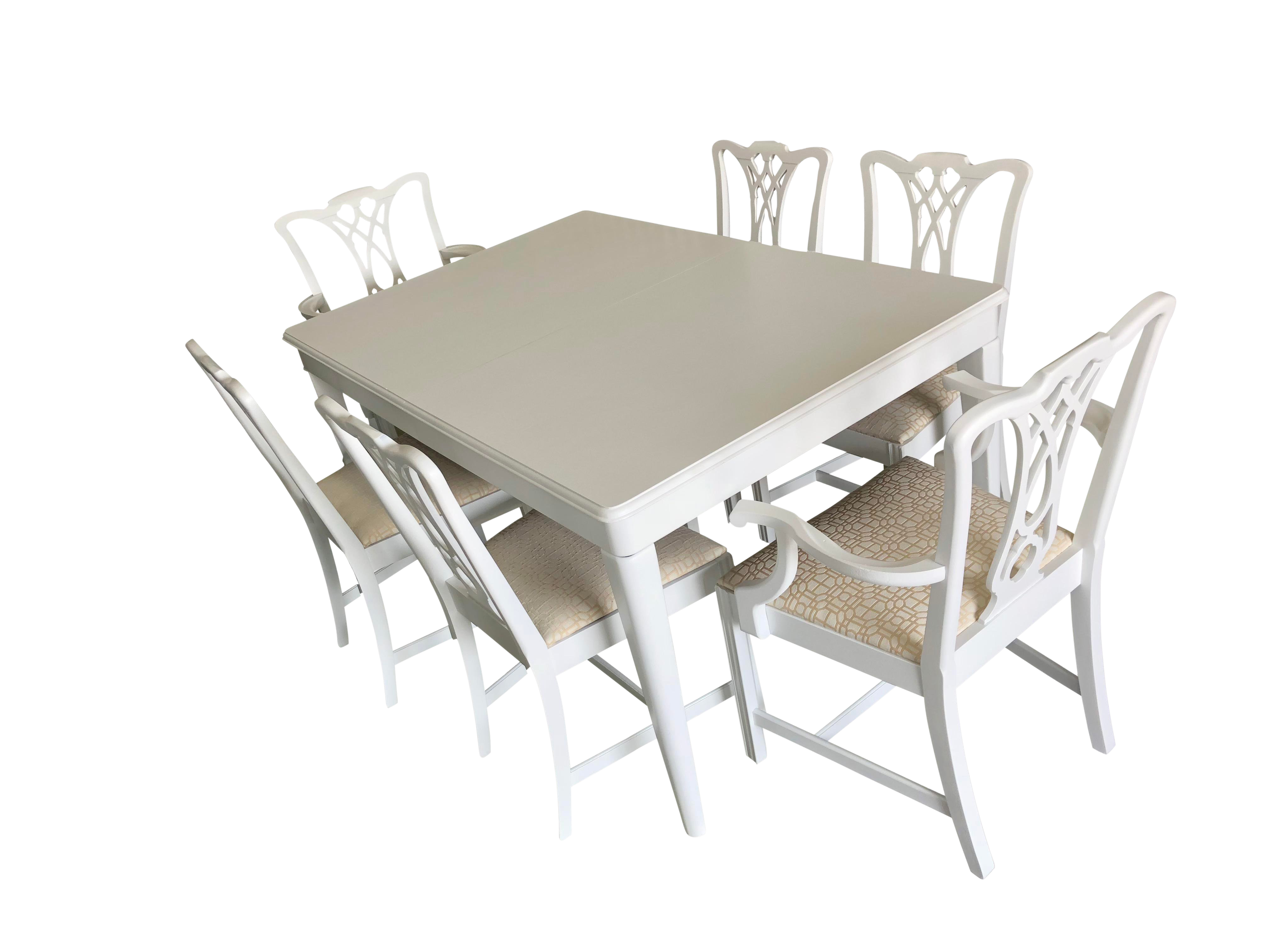 1960s Chippendale White Dining Set   7 Pieces For Sale