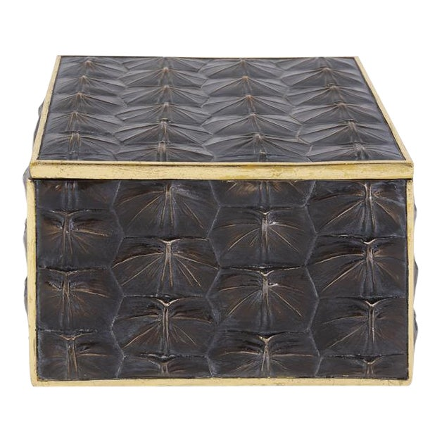 Faux Tortoise Shell Textured Box - Large For Sale