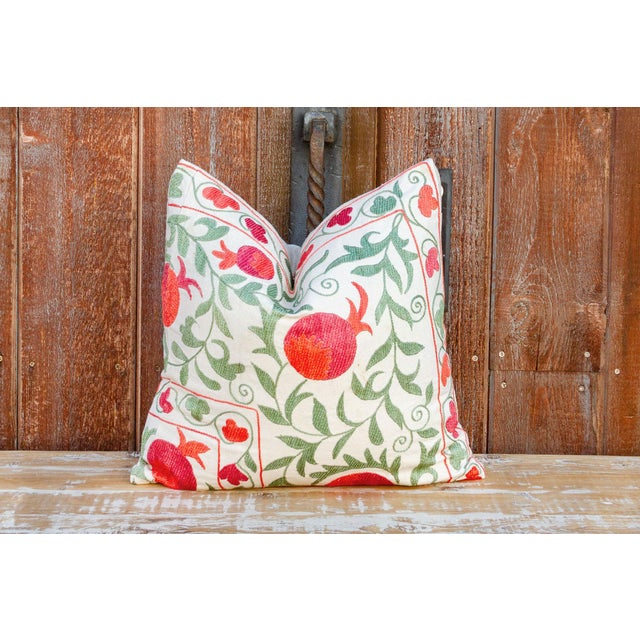 White Remani Pomegranate & Green Ivy Uzbek Suzani Pillow For Sale - Image 8 of 9