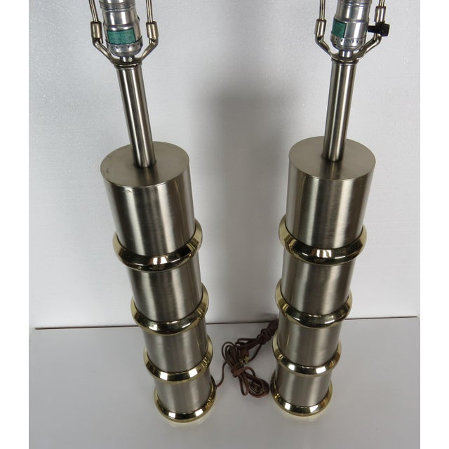 Chrome Vintage Mid-Century Modern Chrome & Brass Cylinder Lamps - a Pair For Sale - Image 8 of 13