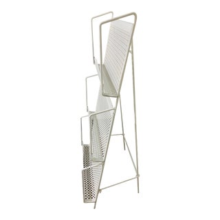 1950s Folding Iron Magazine Book Stand Display Rack Shelf For Sale