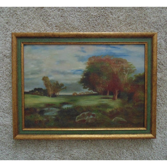 1950s Vintage Oil on Board Landscape Painting For Sale In Providence - Image 6 of 6