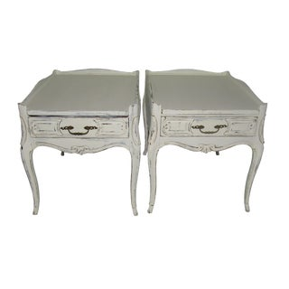 French Farmhouse Single Drawer Side Tables- A Pair For Sale