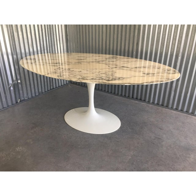 "Authentic Knoll Eero Saarinen 78"" Oval Arabescato Marble Dining Tulip Table For Sale - Image 13 of 13"
