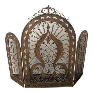 Art Deco Brass Fireplace Screen For Sale