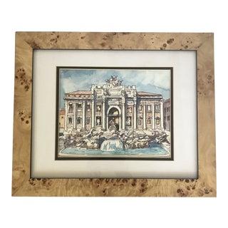 Contemporary Framed Italian Roman Trevi Fountain Illustration For Sale