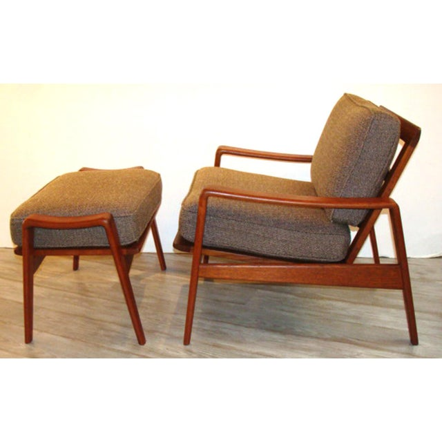 Rarely available. Two matching Arne Wahl Iversen chair/ottoman sets (priced individually for each two-piece set as shown...