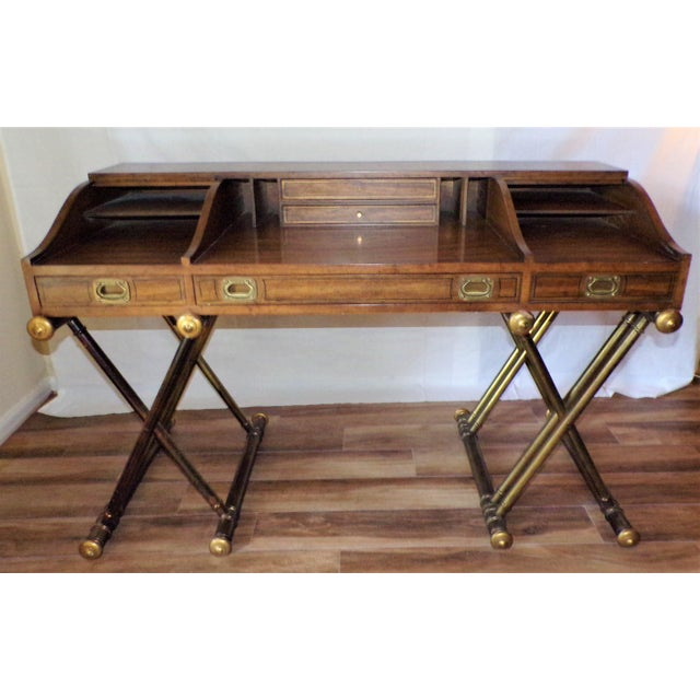 Brown Oxford Square by Drexel Faux Brass Leg Campaign Style Tambour Roll Top Desk For Sale - Image 8 of 13