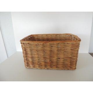 Vintage Woven Rattan Magazine or Storage Basket Preview