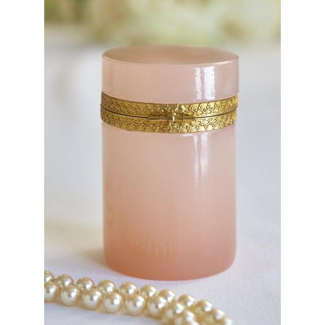 Antique French Pink Opaline & Bronze Dresser Box - Image 3 of 6