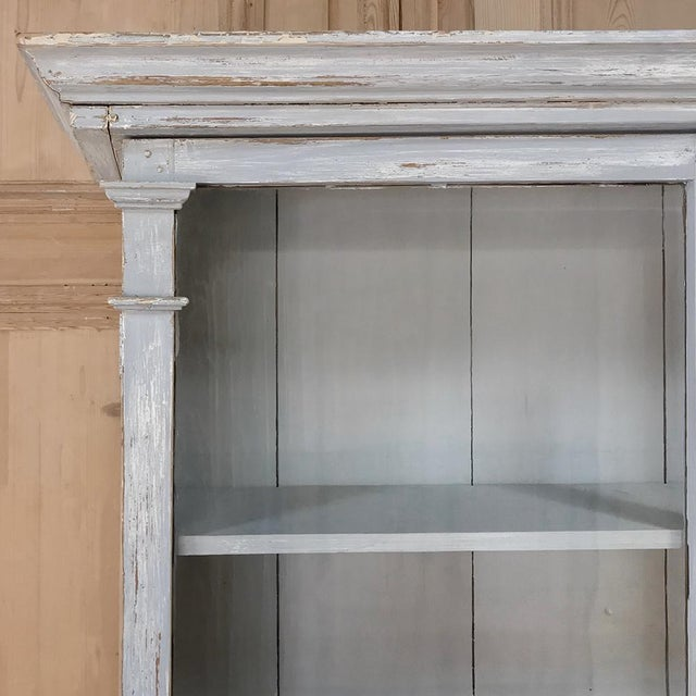 French Provincial Antique Swedish Scraped Painted Bookcase For Sale - Image 3 of 13
