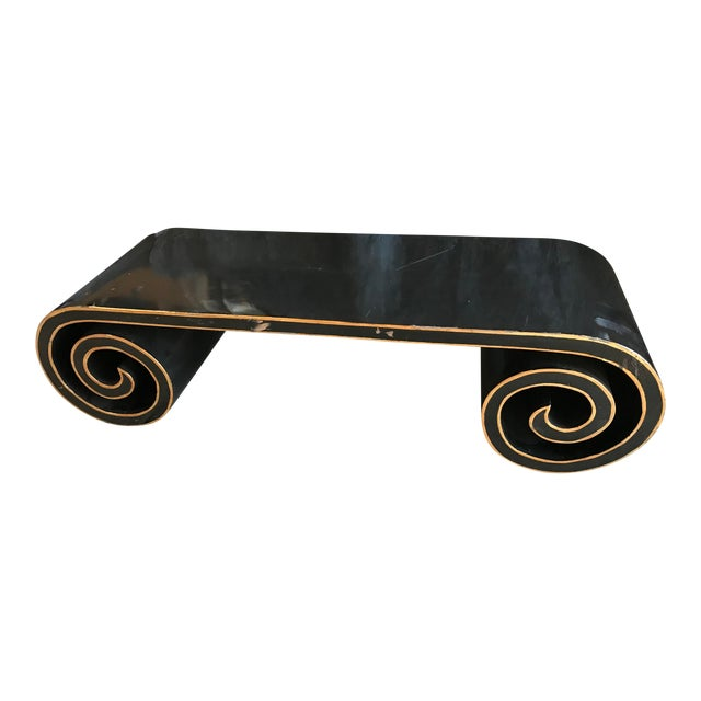 Black and Gold Lacquer Scroll Coffee Table For Sale