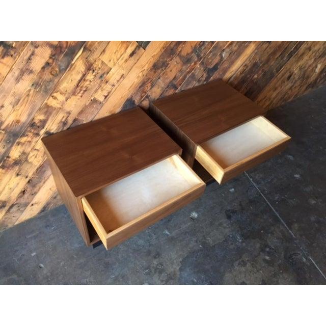 Custom Mid-Century Style Walnut Nightstands - A Pair - Image 4 of 7