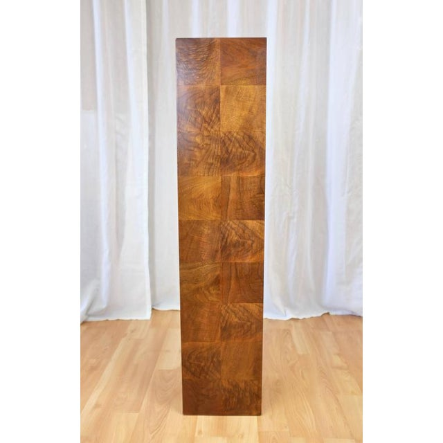 Vintage Milo Baughman-Style Architectural Walnut Pedestal For Sale - Image 5 of 10