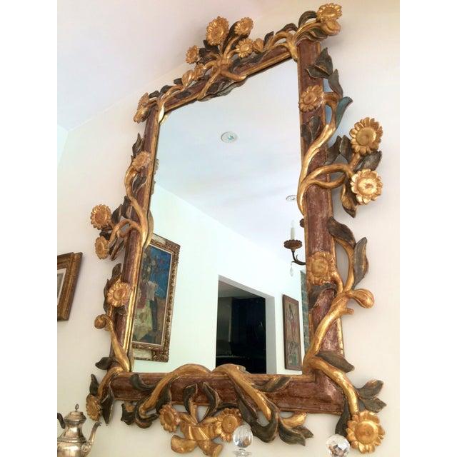 Metal Gilt Italian Sunflower Mirror For Sale - Image 7 of 10