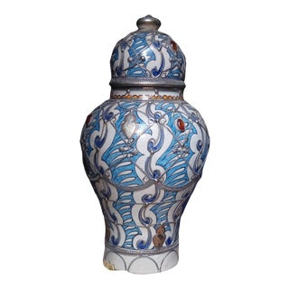 Blue & White Moroccan Handpainted Urn Vase With Metal & Gems For Sale
