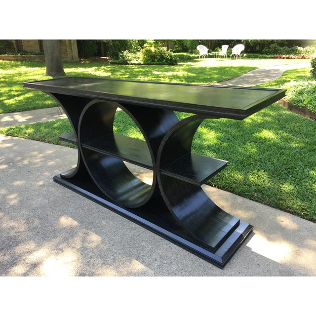 Asian Asian Modern Vanguard Furniture Black Entertainment Console Table For Sale - Image 3 of 8