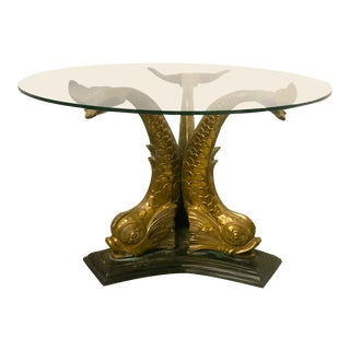 Hollywood Regency Style Brass Center Table