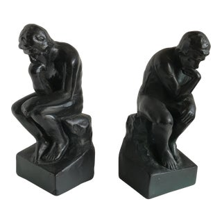 Mid-Century Sculptural Ceramic Thinker Bookends - A Pair