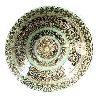 Vintage Mint Green Glass Serving Bowl For Sale