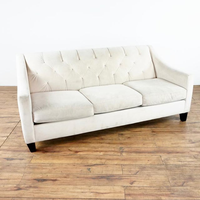 Contemporary Contemporary White Upholstered Button Tufted Sofa For Sale - Image 3 of 7