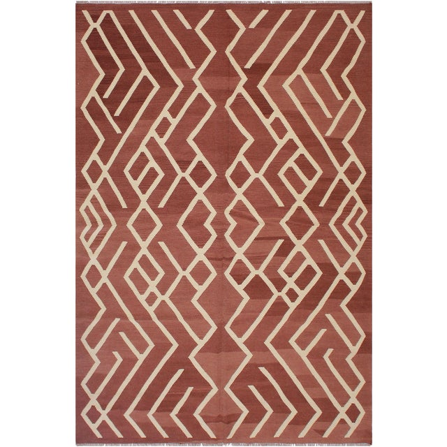 Modern Bauhaus Annabell Brown/Ivory Hand-Woven Kilim Wool Rug - 6'10 X 9'8 For Sale