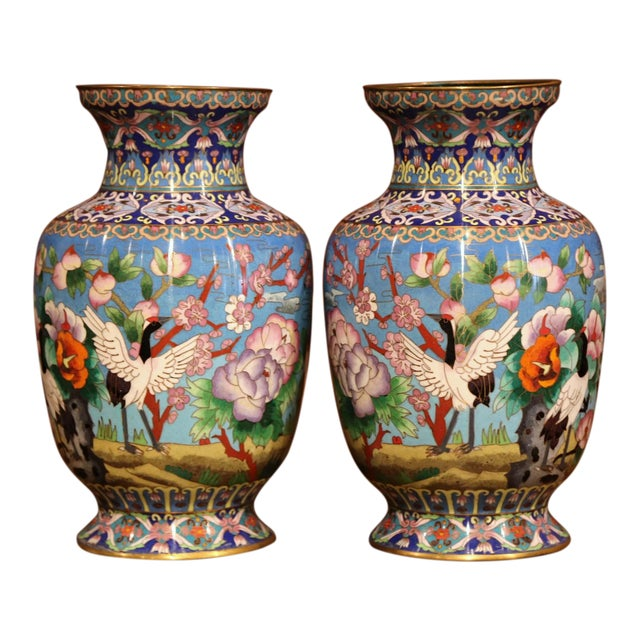 Pair Of Mid 20th Century Chinese Cloisonn Vases With Bird And
