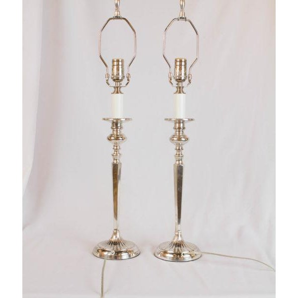 2010s Silverplate Candlestick Lamps - A Pair For Sale - Image 5 of 7