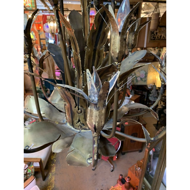 Green 1960s Mid Century Brutalist Torched Brass 16 Arm Chandelier by Tom Greene For Sale - Image 8 of 11