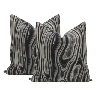 "22"" Geo Print Ebony Pillows - a Pair For Sale"