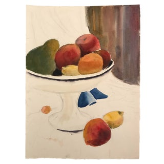 1980s Still LIfe Watercolor of Fruit and Compote For Sale