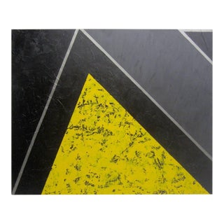 """Yellow, Black and Silver Painting """"The Mountain"""" by Gerald Campbell For Sale"""
