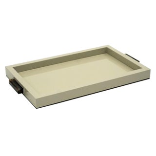 Ivory Lacquer Tray With Horn and Brass Handles For Sale