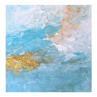 "Abstract Impressionistic Landscape Blue & Gold ""Summer Sky"" Impasto Painting"
