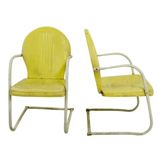 Metal Lawn Garden Patio Chairs by Shott in Yellow - a Pair For Sale