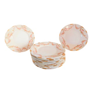 Theodore Haviland Limoges Porcelain Schlieger 145 Rose Bread/Butter/Pie Plates Set of Ten For Sale