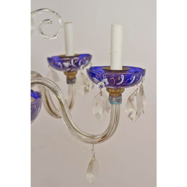 Late 19th Century Blue Glass Chandelier For Sale - Image 4 of 4