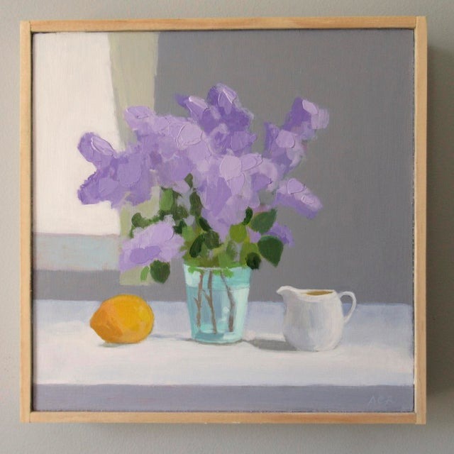 The lilacs are from my garden. Lilac with lemon and creamer is a semi-abstract still-life painting. Painted using brushes...