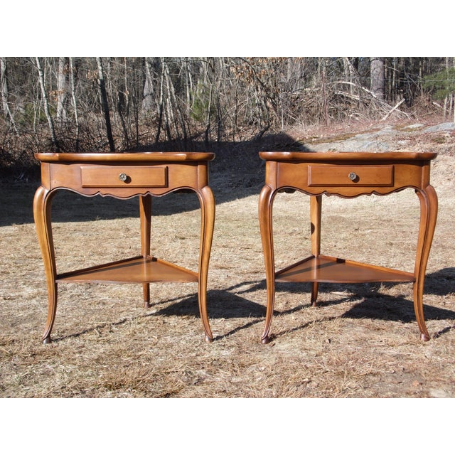 1940s Vintage French Style Leather Top Triangle End Tables - A Pair For Sale - Image 5 of 12