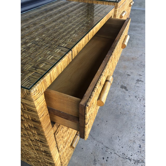 Brown Vintage Woven Wrapped Rattan Chests- a Pair For Sale - Image 8 of 13