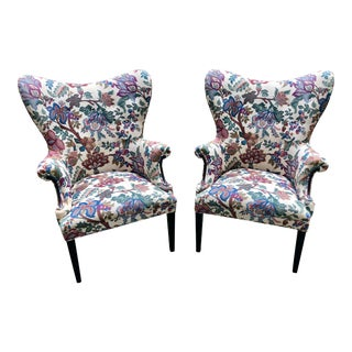 Mid Century Modern Upholstered Wing Chairs - a Pair For Sale