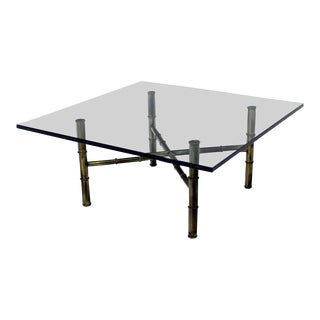 Mid-Century Modern X Base Brass Faux Bamboo Square Glass Top Coffee Table For Sale