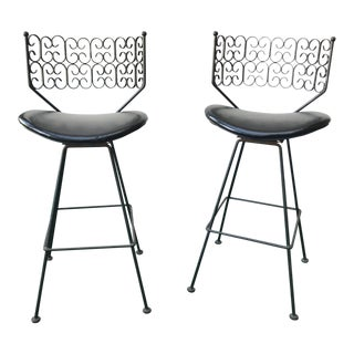 1960s Danish Modern Arthur Umanoff Iron Swivel Barstools - a Pair For Sale