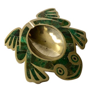 Los Castillo Taxco Mid Century Handwrought Frog Form Brass Ashtray/Trinket Bowl With Inlaid Malachite For Sale