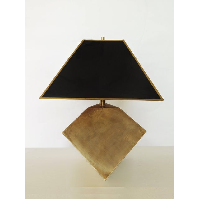 Manner of Gabriella Crespi, these exceptional patinated brass geometric faceted cube shaped lamps. The lamp have been...