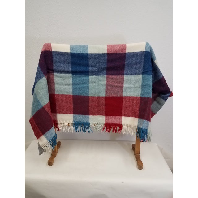 Wool Throw Red Blue White Square Stripes - Made in England A versatile throw in a square stripe design. The colors are...