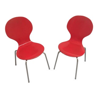 Mid-Century Modern Arne Jacobsen Childrens Red Bent Plywood Danish Chairs - A Pair For Sale